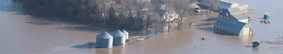 Aerial view of a flooded farm
