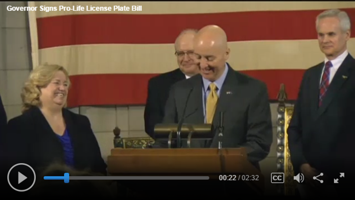 KLKN Governor signs pro-life licnese plate bill video screenshot