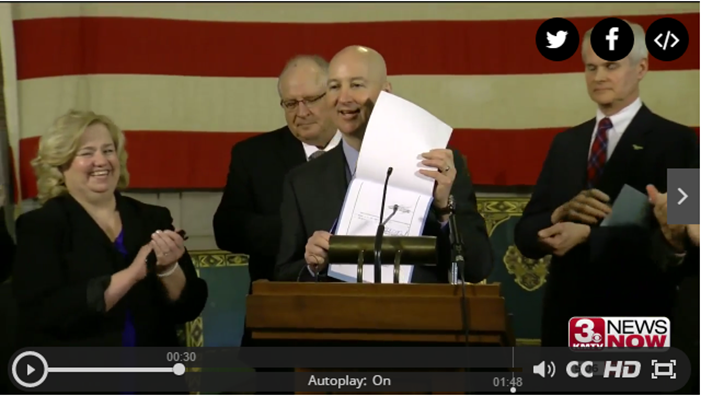 3 News Now screenshot of Governor signs bill creating 'Choose Life' specialty license plate