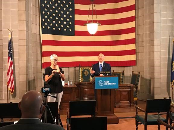 Gov. Ricketts (podium) speaks at this morning's press briefing to announce the 2020 DYTI grant recipients.