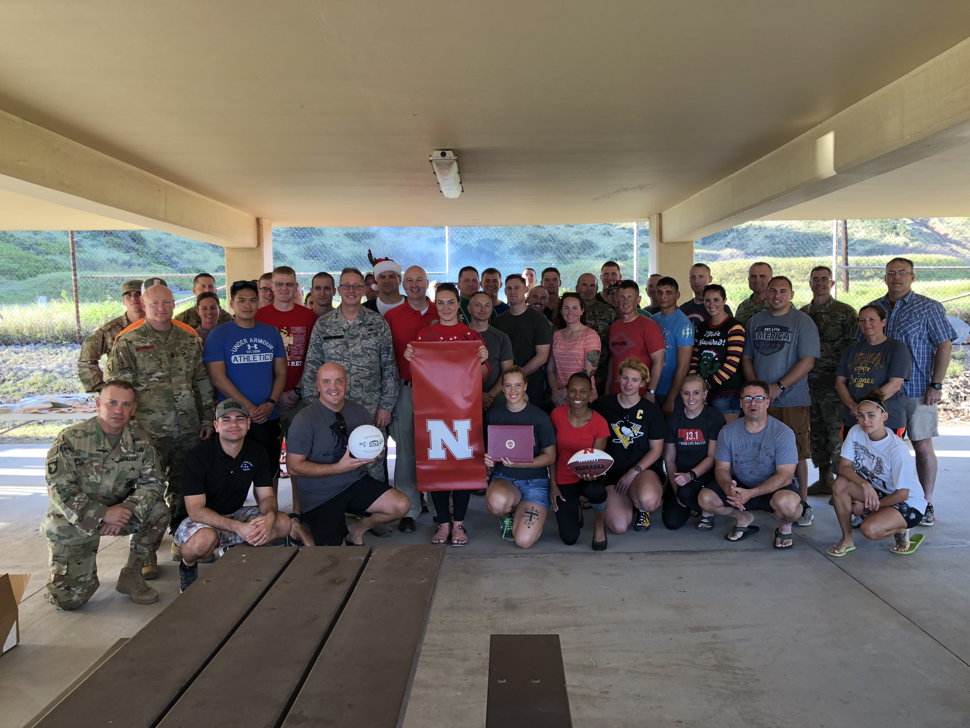 Governor Ricketts and Nebraska National Guard members at Guantanamo Bay Naval Station.