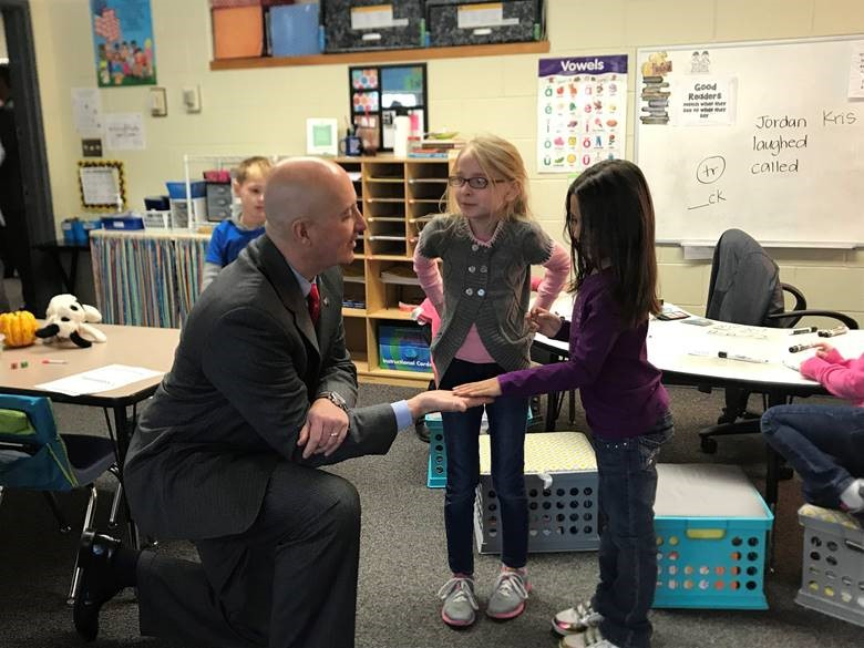 Governor Ricketts had the opportunity to wish this young student a happy birthday